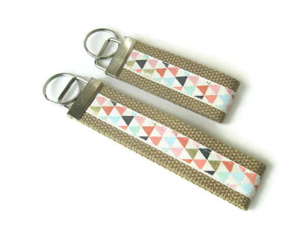Coral Gold Arrow Key Fob Wristlet- Wrist Keychain- Wristlet Key Chain