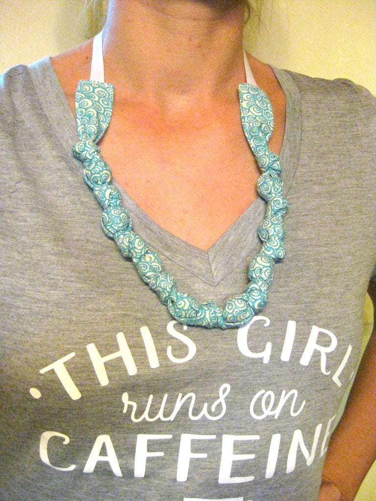 NURSING Necklace- Blue Teething Necklace- Fabric Wooden BEAD Necklace - Chewelry- Mama Necklace- Womens Gift for Her- New Mom Gift Under 20