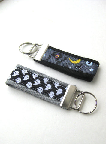 Halloween Key Chain- Halloween Key Fob- Halloween Gift- Wristlet Key Fob- Wrist Keychain- Key Lanyard- Gift for Her- Womens Gift Under Ten