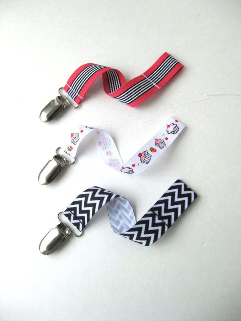 Pink and Black Baby Girl Pacifier Clip Set of 3 - Baby Girl Gift - Universal PACIFIER CLIP
