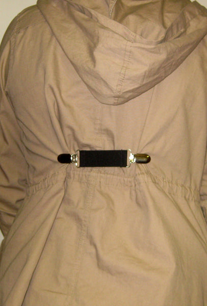 Taupe Stripe Elastic Dress Clip - Womens Shirt Clip - Cinch Clip - Garment Clip