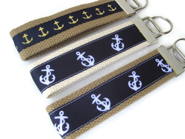 Navy Anchor Key Fob- Key Chain- Nautical KEY FOB- Wristlet Key Fob- Wrist Keychain- Key Lanyard- Gift for Her- Womens Gift Under Ten