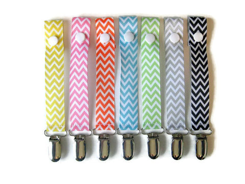 Chevron PACIFIER CLIP - Universal Pacifier Holder - Soother Clip - Baby Shower Gift