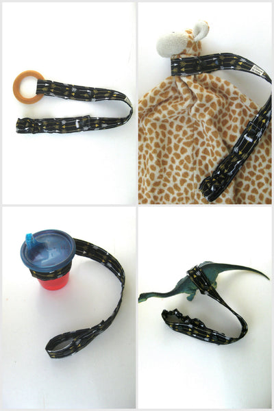Black Gold Arrow TOY LEASH Toy Tether- Sippy Cup Strap- Toy Strap For Baby Carrier Stroller