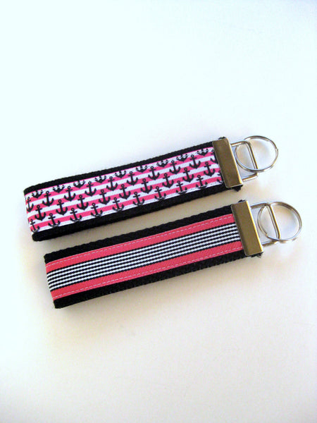 Womens Key Chain - Pink Anchor Key Fob - Wristlet Key Fob Keychain