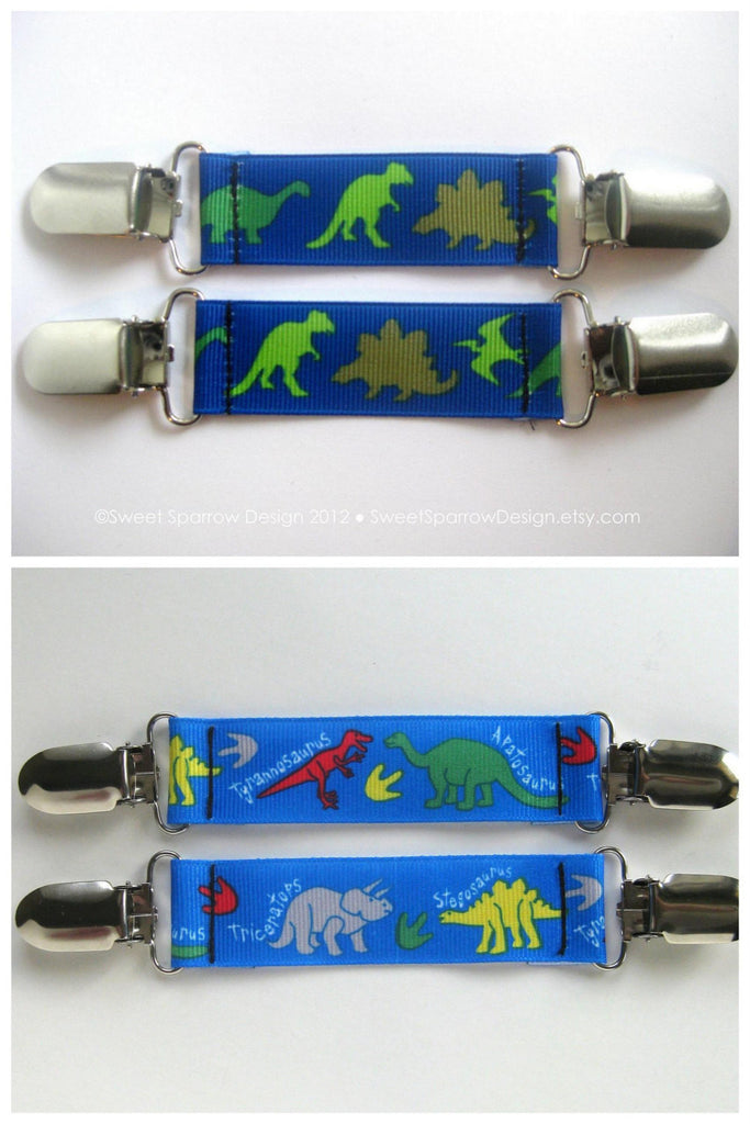 Dinosaur MITTEN CLIPS for Kids Winter Jacket- Boys Mitt Clips- Sleeve Clips for Jacket- Metal Clips for Childrens Sleeves- Kids Gift Idea