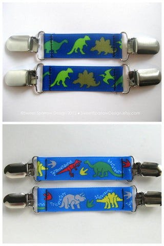 Dinosaur MITTEN CLIPS for Kids Winter Jacket- Boys Mitt Clips