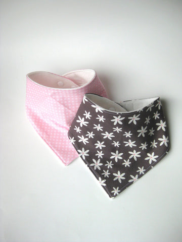 Pink and Grey Baby Girl Bib Set - Baby Drool Bib Set - Flower Baby Bib for Girl