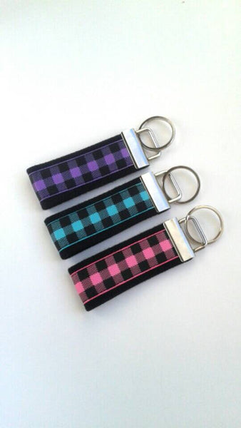 Womens KEY FOB- Plaid Key Chain for Her- Plaid Keychain Holder- Womens Key Ring- Key Lanyard- Plaid Key Fob- Womens Gift for Her Under 10