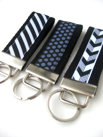 Womens Wristlet KEY FOB- Striped Key Chain- Black Key Fob- Keychain Holder- Womens Key Ring- Key Lanyard- Womens Gift for Her Under 10