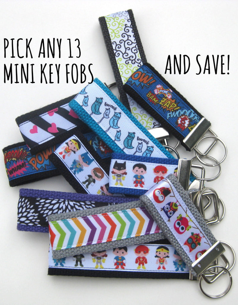 13 Mini KEY FOB- Kids Key Chain- Kids Birthday Party Favor Gift- Wholesale Keychain Holder- Kids Key Ring- Kid Gift Under 10- Grab Bag Gift