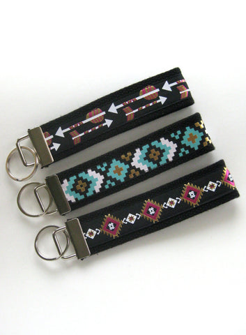 Aztec KEY FOB Wristlet- Wrist Keychain for Her- Tribal Key Fob for Women