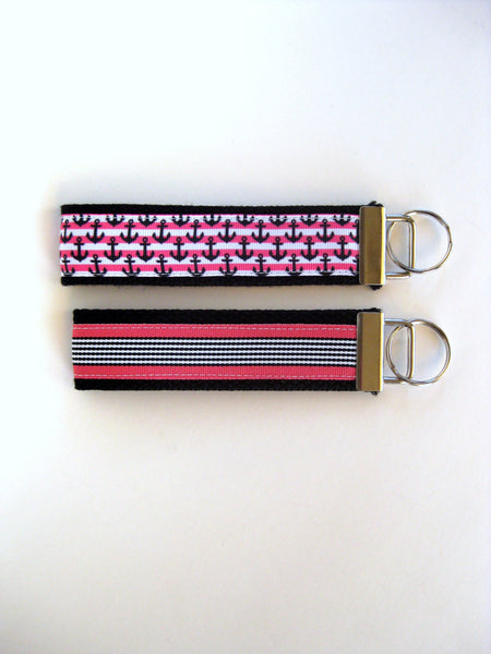 Womens Key Chain- Pink Anchor Key Fob- Wristlet Key Fob Keychain