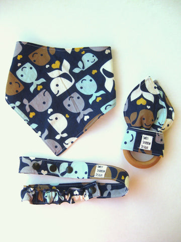 Boy Baby Gift Set- Whales Baby Bandana Bib- Organic Teether- Baby Teether- WOODEN Teething Ring- Natural Teether for Baby Shower Gift