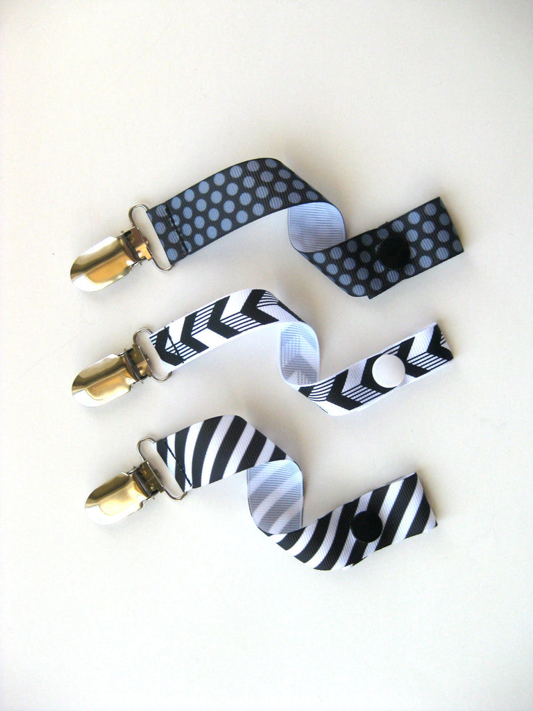 Baby Boy Pacifier Clip Set - Monochrome Baby Gift - Universal PACIFIER CLIP - Soother String