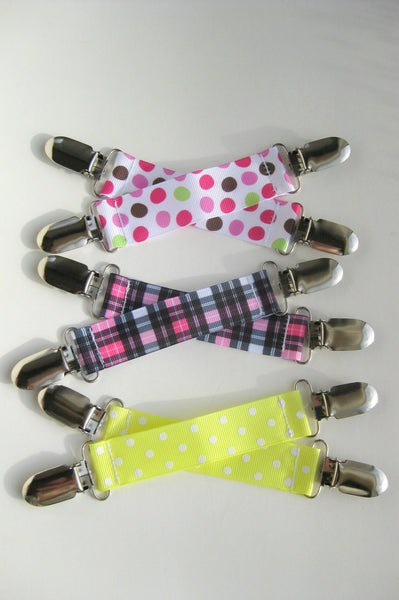 Girls MITTEN CLIPS for Children Plaid Polka Dot - Toddler Mitten Clips - Girls Mitt Clips