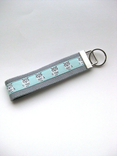 Mint Owl KEY FOB Wristlet - Womens Gift Under 10 - Owl Keychain for Her - Wristlet Key Chain