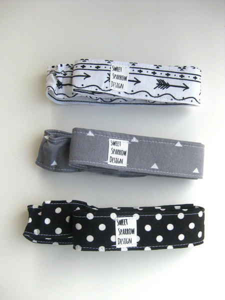 Baby Gift Set- Monochrome TOY LEASH Set- 3 Toy TETHERS- Baby Bottle Leash- Sophie Leash- Sippy Cup Leash- Stroller Strap- Teether Toy Strap