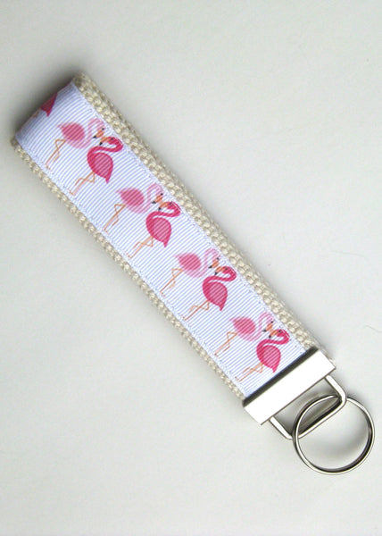 Wristlet Key Fob- Flamingo Keychain- Womens Key Chain for Her- Womens Key Fob- Wrist Keychain- Womens Gift Under 10- Flamingo Gift for Her