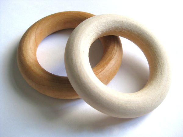 WOODEN TEETHING RING- Natural Wood Teether for Baby- Wood Baby Teether with Add On Pacifier Clip- Baby Shower Gift- Baby Gift Idea-Wood Ring
