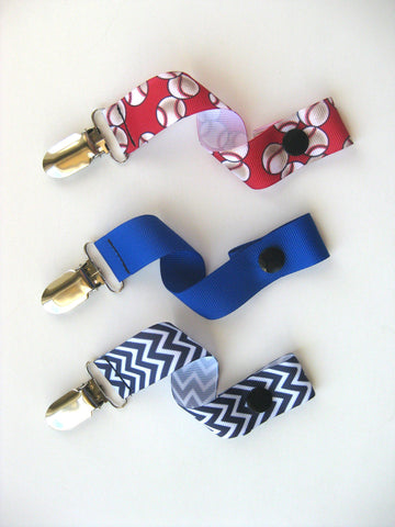 Baby Boy PACIFIER CLIP Sports Print - Boy Soother String - Baseball Pacifier Clip - Baby Boy Shower Gift