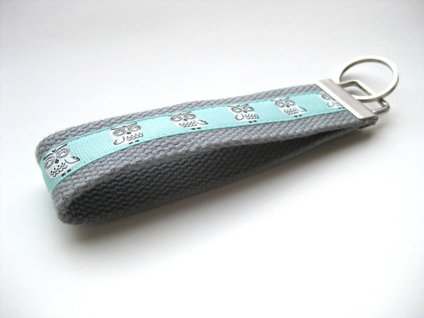 Owl KEY FOB Wristlet- Womens Gift Under 10- Wrist Lanyard- Owl Keychain for Her- Wristlet Key Chain- Gift for Her- Mothers Day Gift for Wife
