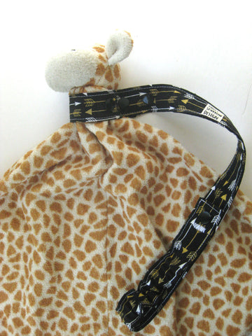 Baby Shower Gift- Black Gold Arrow TOY LEASH- Sophie Leash- Sippy Saver- Toy Tether- Sippy Cup Strap- Toy Strap For Baby Carrier Stroller