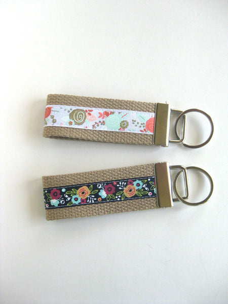 Womens Gift for Wife- Mini KEY FOB- Floral Key Chain- Keychain Holder- Womens Key Ring- Key Lanyard- Wristlet Key Fob- Gift Under 10