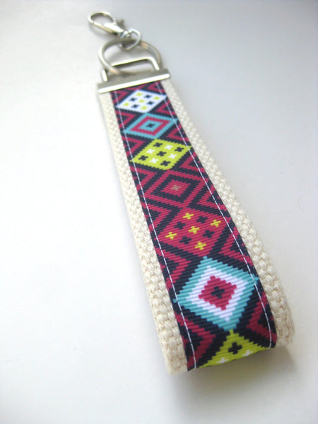 Tribal KEY FOB Wristlet- Womens Keychain- Aztec Keychain- Wrist Keychain for Her- Wristlet Key Chain- Gift for Her- Gift for Women Under 10
