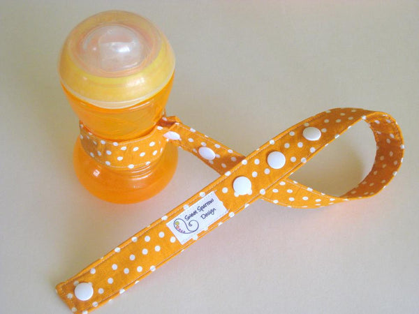 Orange Bottle Leash- Orange Polka Dot Toy Leash- Sippy Cup Leash- Toy Tether- Sophie TOY LEASH- Stroller Toy Strap- New Baby Gift Under 10
