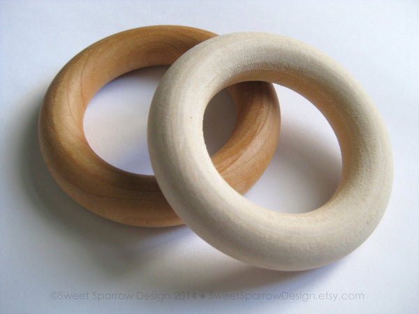 WOOD TEETHING RING- Wood Teether- Natural Teether- Wood Ring- Wooden Teething Ring- Organic Baby Teether- Wood Teething Toy- New Baby Gift