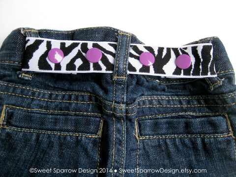 Zebra Toddler Belt - Elastic SNAP BELT for Kids - Zebra Baby Belt