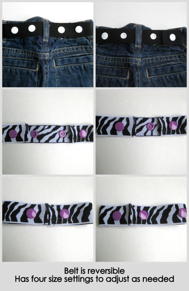 Zebra Toddler Belt- Elastic SNAP BELT- Zebra Baby Belt- Kids Belt for Girls