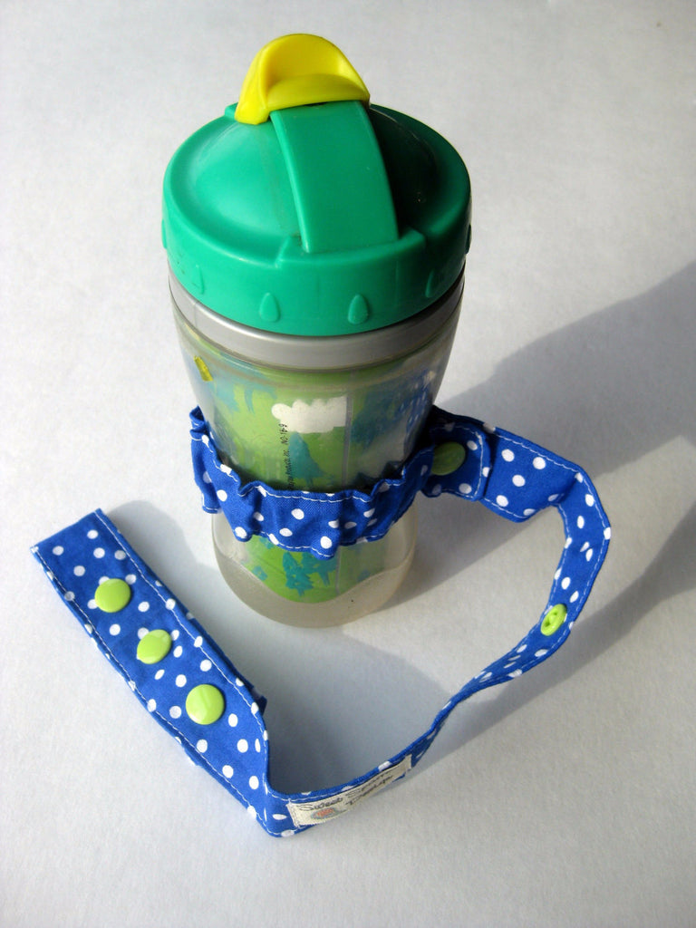 Blue Polka Dot Toy LEASH- Sophie Leash- TOY TETHER- Sippy Cup Saver- Bottle Leash- Baby Carrier Toy Strap- Baby Shower Gift- Tula Toy Strap