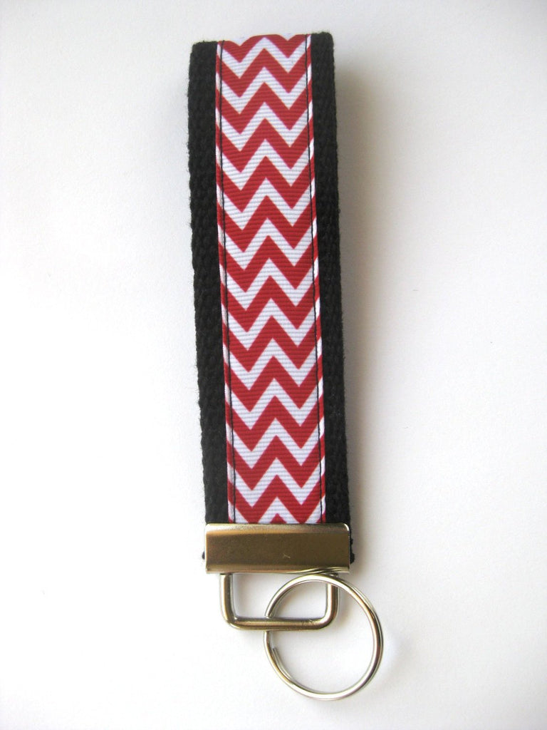Wristlet Key Fob- Wrist Keychain for Women- Red Chevron KEY FOB- Key Lanyard- WRIST Key Chain- Mens Black Key Ring- Teacher Gift Under 10