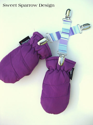 Girl MITTEN CLIPS - Mitt Clip for Kids - Purple Stripe Mitten Clip