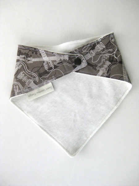 Bandana Bib Boy- Baby Boy Bib- Baby Shower Gift- Grey Guitar Drool Bib