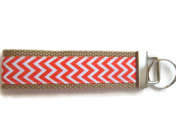 KEY FOB Wristlet Keychain- Orange Chevron Key Fob- Womens Keychain- Key Lanyard- Womens Key Ring- WRIST Key Chain- Womens Gift under 10