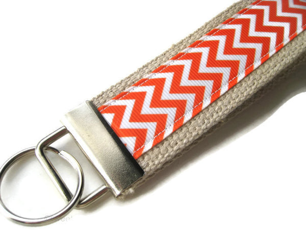 Womens Wristlet Key Fob- Orange Chevron KEY FOB- Wrist Keychain for Her- Womens Key Chain- Key Lanyard- Gift for Her- Teacher Gift Under Ten