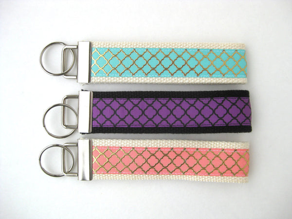 Coral Mint Purple Wristlet Key Fob- Gold Quatrefoil KEY FOB- Wrist Keychain for Her