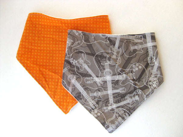 Baby Boy Bandana Bib Set- Orange Bandana Bib- Baby Boy Drool Bib Set- Baby Boy Shower Gift- Organic Baby Boy Bib- Dribble Bib-Baby Scarf Bib