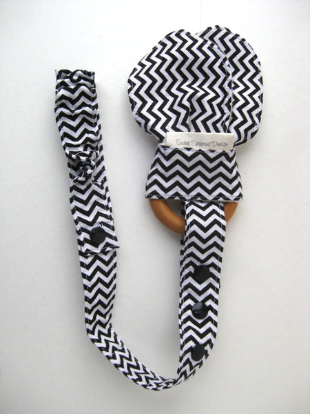 Black Chevron TOY LEASH - Bottle Leash for Sippy Cups - Toy TETHER for Baby Toys