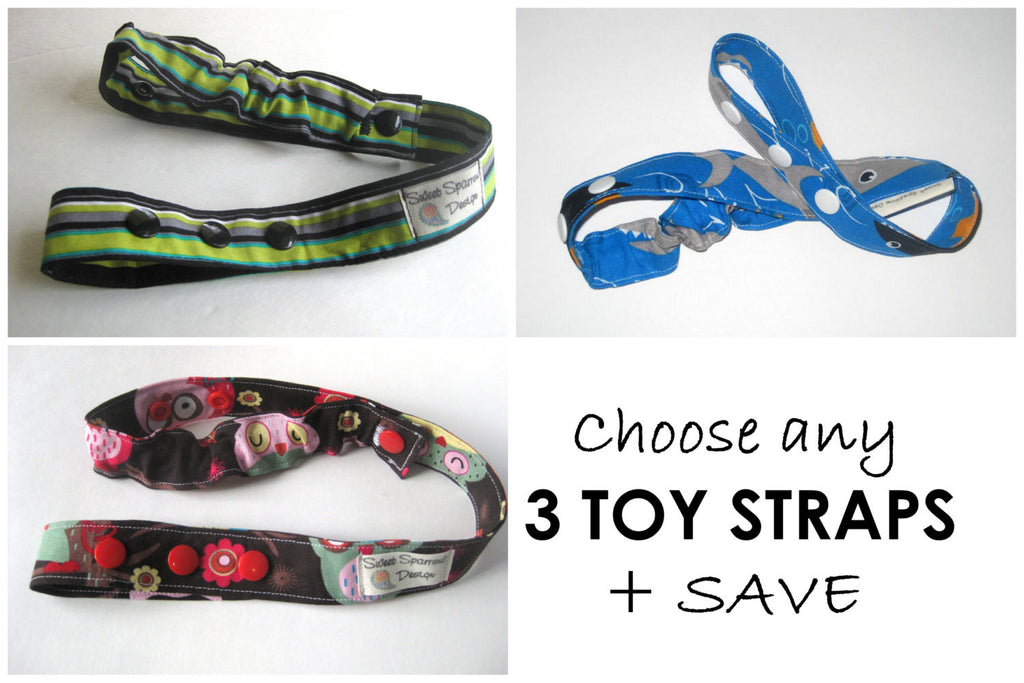 Custom TOY LEASH Set- Choose any 3 Toy TETHERS- Toy Clip- Bottle Leash- Sophie Leash- Sippy Cup Leash- Stroller Strap- Custom Baby Gift Set