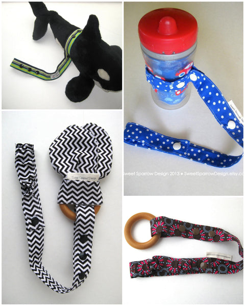 Monochrome TOY LEASH Set - 3 Toy TETHERS - Baby Bottle Leash - Sophie Leash - Sippy Cup Leash