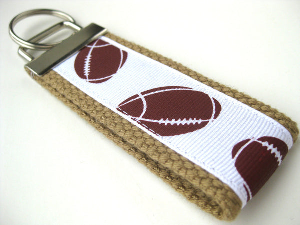 Fathers Day Gift for Dad- Football Keychain - Mini Key Fob - Mens Key Chain - Mens Gift for Him - Dad Gift Under 10