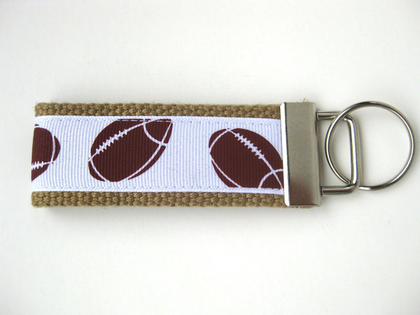 Fathers Day Gift for Dad- Football Keychain- Mini Key Fob- Mens Key Chain- Mens Keychain- Key Lanyard- Mens Gift for Him- Dad Gift Under 10