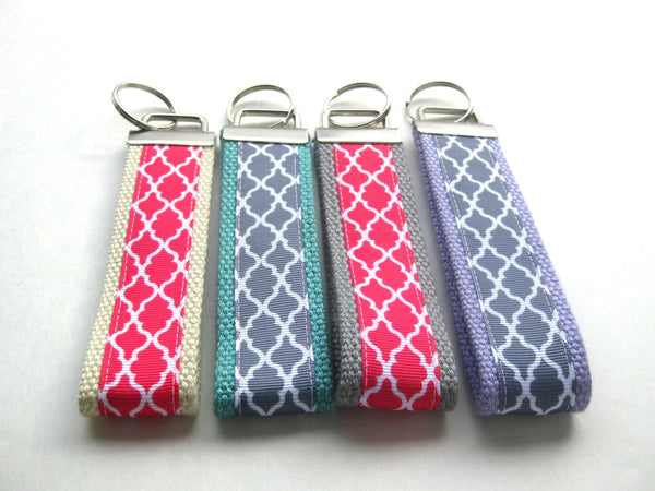 Wristlet Key Fob- Womens Key Chain for Her- Womens Key Fob- Wrist Keychain- Quatrefoil Key Lanyard- Women Gift Under 10- Best Gift for Her