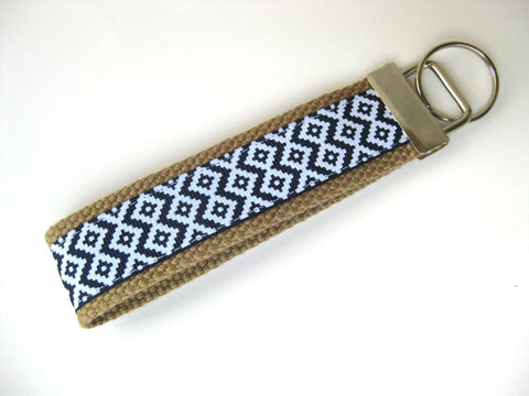 Navy Aztec Tribal KEY FOB Wristlet- Wrist Keychain for Her- Key Lanyard for Women- Wristlet Key Chain- Gift for Her- Womens Gift Under 10