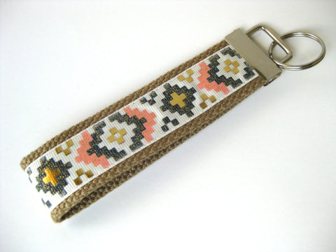 Aztec Tribal KEY FOB Wristlet- Wrist Keychain for Her- Key Lanyard for Women
