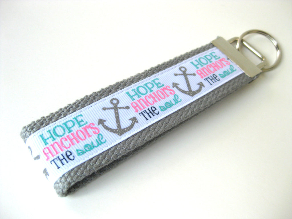 Hope Anchor Key Fob- Womens Key Chain- Pink Grey KEY FOB- Wristlet Key Fob- Wrist Keychain- Key Lanyard- Womens Gift for Her- Gift Under 10